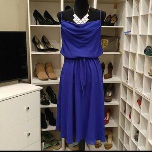 Drape neck blue dress